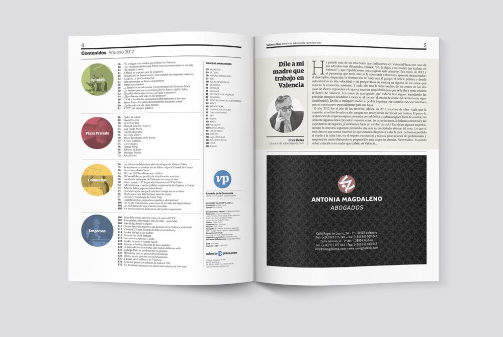 Anuario de Economía Valencia Plaza 2012. Sumario